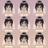 Set śliczni pann młodych emoticons Fotografia Stock
