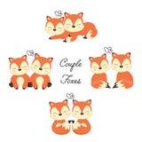 Set Śliczni para lisy w miłości Lasu zwierzę w kreskówka stylu ilustracja wektor