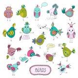 Set śliczni ptaki w różnych akcjach Obraz Stock