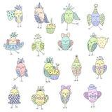Set śliczni ptaki w różnych akcjach Fotografia Stock