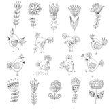 Set śliczni ptaki w różnych akcjach z Obraz Stock