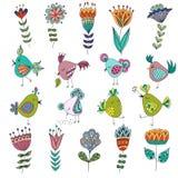 Set śliczni ptaki w różnych akcjach z Obrazy Royalty Free