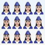 Set śliczni stewardes emoticons ilustracja wektor
