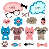 Set śliczni szczęśliwi zwierzęta Fotografia Stock