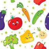 Set śliczni warzywa w postaci charakterów Oberżyna, pomidor, ogórek, cebula, papryka, pieprz, brokuły i marchewki, Backgr ilustracja wektor