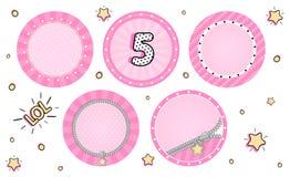 Set śliczni wektoru LOL niespodzianki babeczki numer jeden Różowi partyjni majchery royalty ilustracja
