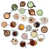 Set śliczni yummy napojów doodles fili?anki herbaciane Ręka rysująca kreskówka stylu kolekcja lineart kubki ilustracja wektor