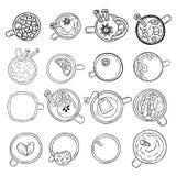 Set śliczni yummy napoju doodle nakreślenia Fili?anki herbaty i kawy doodles Ręka rysująca kreskówka stylu kolekcja lineart kubki royalty ilustracja