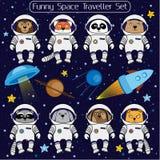 Set śliczni zwierzęcy astronauta, rakietowy satelity UFO gra główna rolę kosmos Zdjęcia Royalty Free