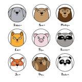 Set śliczni zwierzęcy avatars w okręgach Zdjęcia Royalty Free