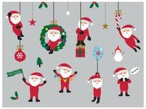 Set śliczny Bożenarodzeniowy Święty Mikołaj ilustracji