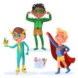 Set śliczny, kreskówka bohatera chłopiec super charaktery ilustracja wektor