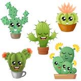 Set śliczny kreskówka kaktus ilustracja wektor