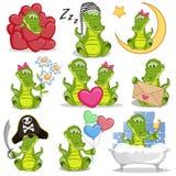 Set Śliczny kreskówka krokodyl ilustracja wektor