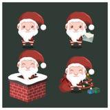 Set śliczny mały Santa z z różnymi pozami Zdjęcie Royalty Free