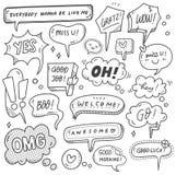 Set śliczny mowa bąbel w doodle stylu royalty ilustracja