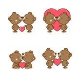 Set śliczny para niedźwiedź w miłości z sercem royalty ilustracja