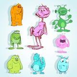 Set śliczny potwór w doodle stylu Fotografia Royalty Free