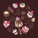Set śliczny tort. Zdjęcie Stock