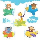 Set śliczny zwierzę na samolocie w niebie ilustracja wektor