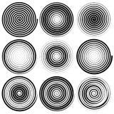 Set 9 ślimakowatych elementów Zawijasy, swooshes ilustracji