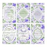 Set ślubna karta Rocznik Dekoracyjny retro kartka z pozdrowieniami royalty ilustracja