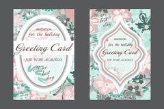 Set ślubna karta Rocznik Dekoracyjny retro kartka z pozdrowieniami lub royalty ilustracja