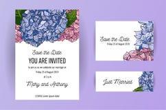Set ślubna zaproszenie karta z błękitem i menchiami kwitnie hortensji A5 Karcianego projekta szablon na białym tle z rysunkiem ilustracji