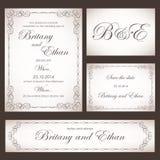 Set ślubne karty lub zaproszenia ilustracji