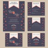 Set ślubne zaproszenie karty z sercami Zdjęcia Stock