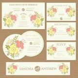 Set ślubne zaproszenie karty z sercami Fotografia Stock