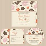 Set ślubne zaproszenie karty, zawiadomienia lub ilustracji