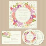 Set ślubne zaproszenie karty, zawiadomienia z kwiatami lub royalty ilustracja