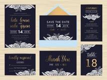 Set ślubny apartamentu szablon dekoruje z biel różą Zdjęcia Royalty Free