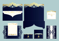 Set ślubny zaproszenie lub kartka z pozdrowieniami z złocistym ornamentem obrazy stock