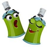 Set śmieszna roześmiana zielona aerosol cyny kiści puszka odizolowywająca na białym tle Wektorowa kreskówki zakończenia ilustracj royalty ilustracja