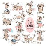 Set śmieszni śliczni kreskówka psy Ręka rysunek odizolowywający protestuje na białym tle również zwrócić corel ilustracji wektora royalty ilustracja
