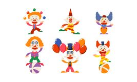 Set śmieszni błazeny w różnych akcjach Postacie z kreskówki cyrkowi artyści Płaski wektor dla reklamowego plakata lub ilustracja wektor
