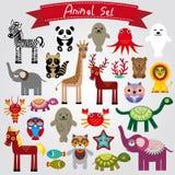 Set śmieszni kreskówek zwierzęta na białym tle Obrazy Stock