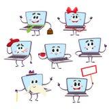 Set śmieszni kreskówka laptopu charaktery ilustracji