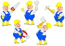 Set śmieszni pracownicy z różnymi instrumentami Zdjęcie Royalty Free