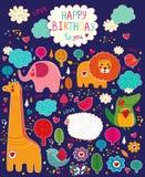 Set śmieszni, szczęśliwi zwierzęta, Obrazy Stock