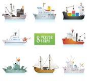 Set śmieszni wektorowi statki w kreskówka stylu Obraz Stock