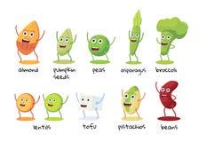 Set śmieszny charakter foods Fasole, brokuły, asparagus, tofu, grochy, soczewicy, migdały, pistacje, dyniowi ziarna Ilustracji