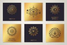 Set Świętej geometrii Minimalni Geometryczni kształty ilustracji