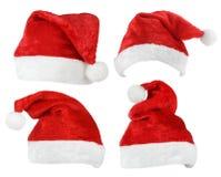 Set Święty Mikołaj czerwieni kapelusze fotografia stock