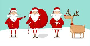 Set Święty Mikołaj i renifer na śniegu Fotografia Stock