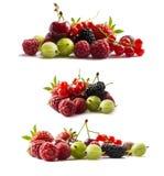 Set świeże owoc i jagody tła jagod owoc odizolowywali biel Dojrzali rodzynki, malinki, wiśnie, strawberri Fotografia Royalty Free