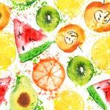 Set Świeżej owoc akwareli przedmioty Watercolored jabłko, cytrusy, avocado i qiwi w jeden kolekci sztuki z, ilustracji