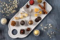 Set świetni czekoladowi cukierki i ser Bielu, ciemnej i dojnej czekolada, brie, błękitny ser, koźli parmisan na talerzu, ser, i zdjęcie royalty free